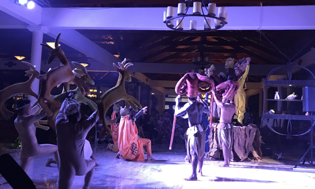 The Lion King show being performed by the entertainment team at The Reserve at Paradisus Punta Cana.