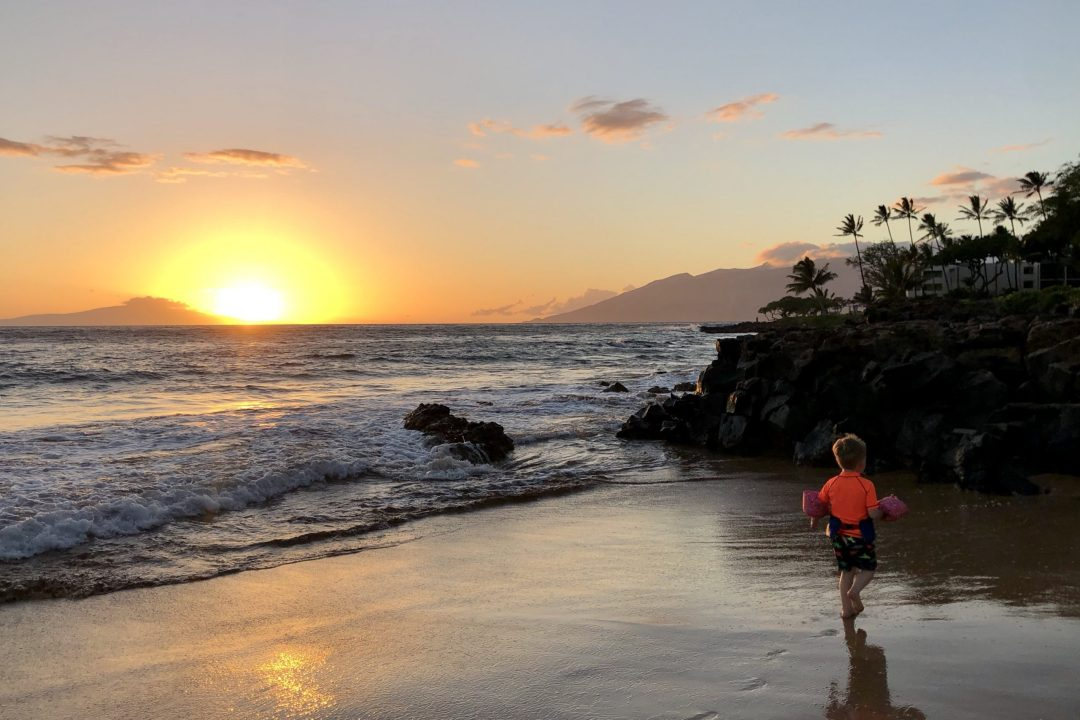 Sunset from the beach at the Wailea Beach Resort by Marriott