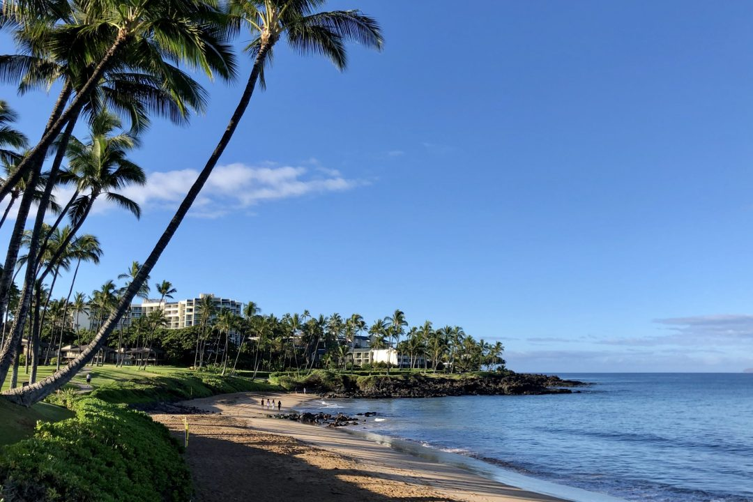 Golden sand beach adjacent to the Wailea Beach Resort by Marriott