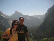 2012- Rick and Gina hiking in Yosemite with his lovely wife, Diane & my brother, Paul (appropriate Half Dome backdrop)