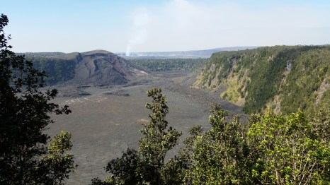 Caldera steaming in the background