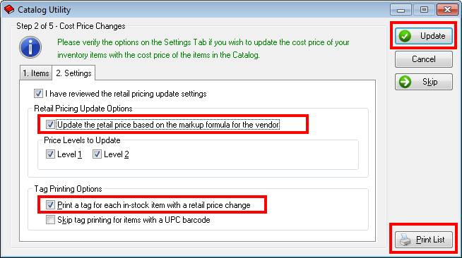 Catalog Utility Costs Update