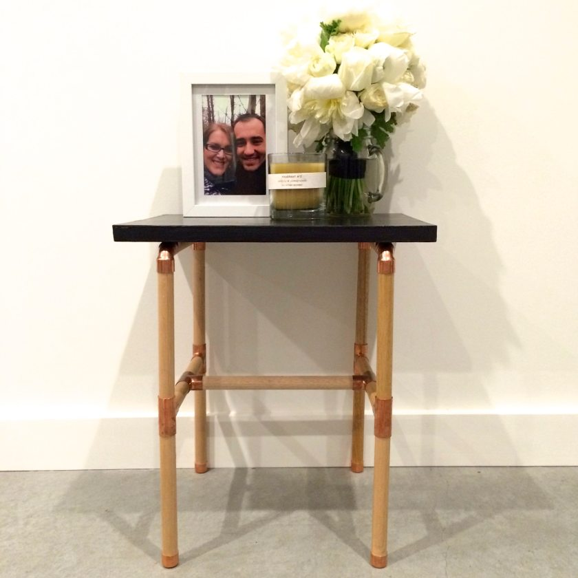 DIY copper and wood table