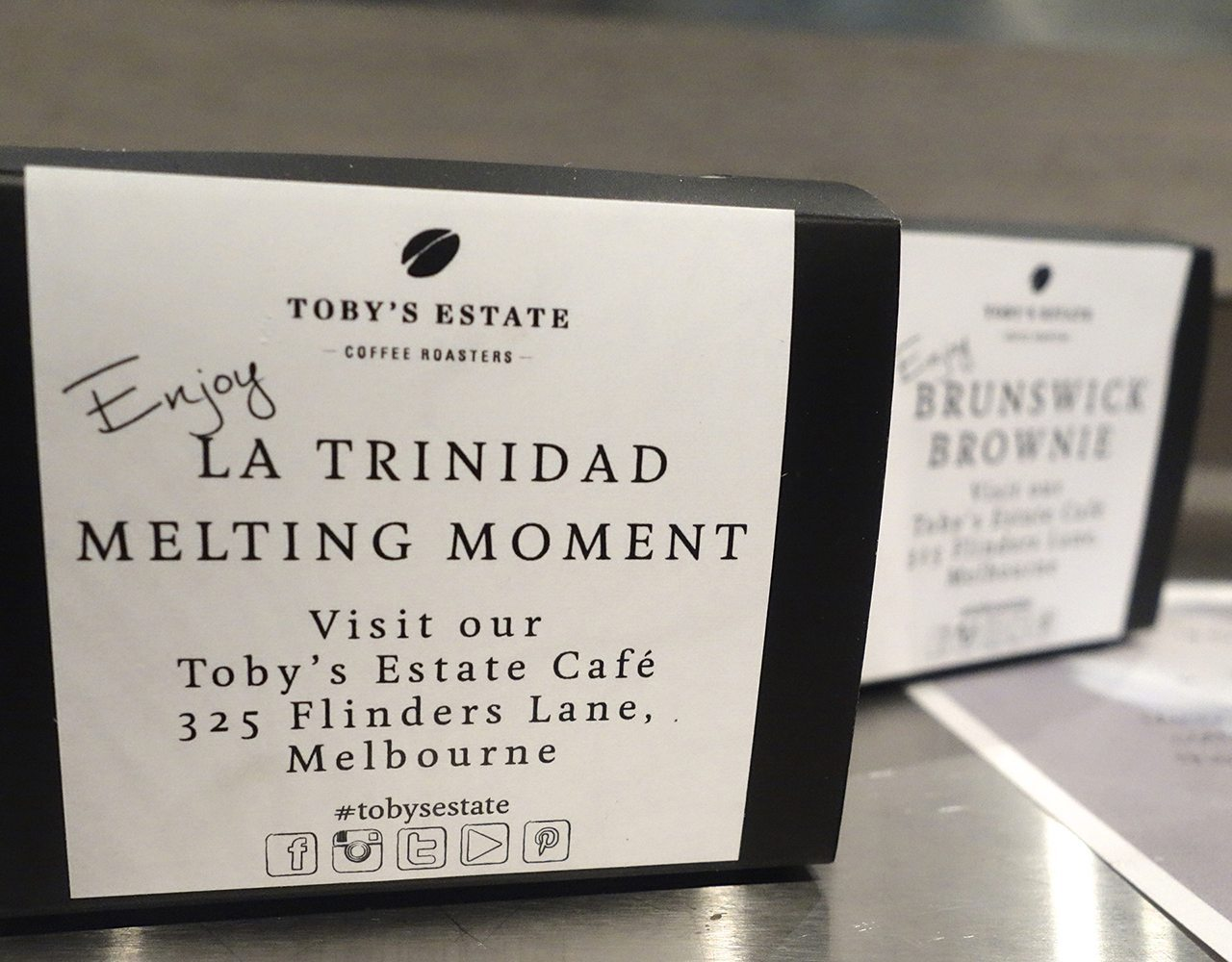 Toby Estate Coffee La Trinidad Melting Moment and Brunswick Brownie