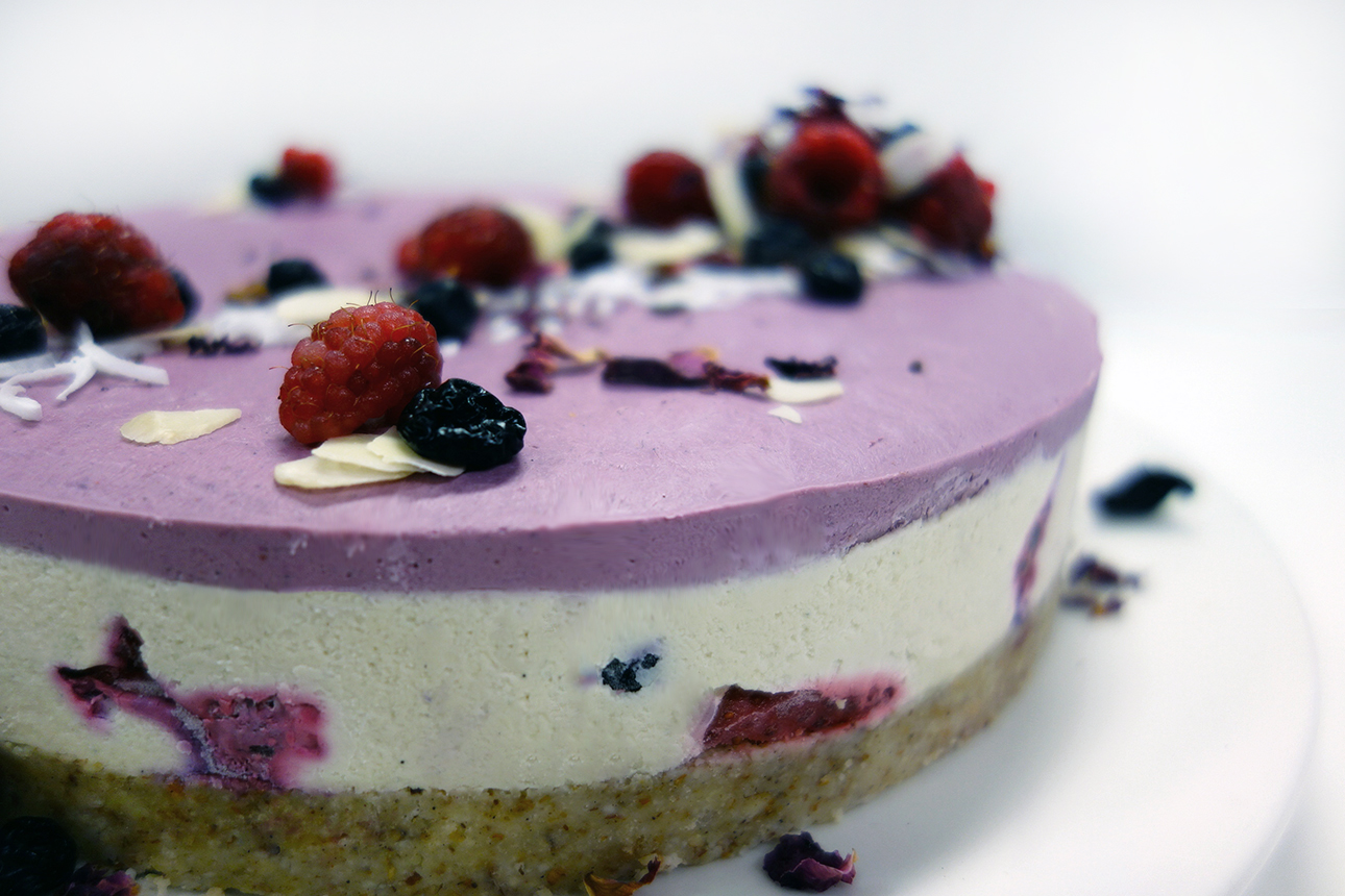 raw vegan gluten free dairy free triple layer berry cheesecake