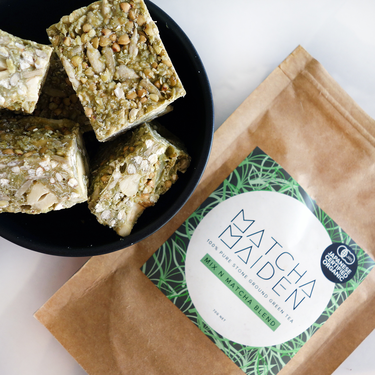 matcha maiden raw white chocolate cashew nut and seed bars