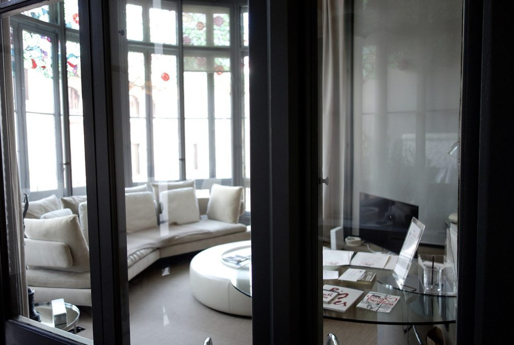 El Palauet Living Barcelona Luxury Hotel Apartments Lounge View from Bathroom