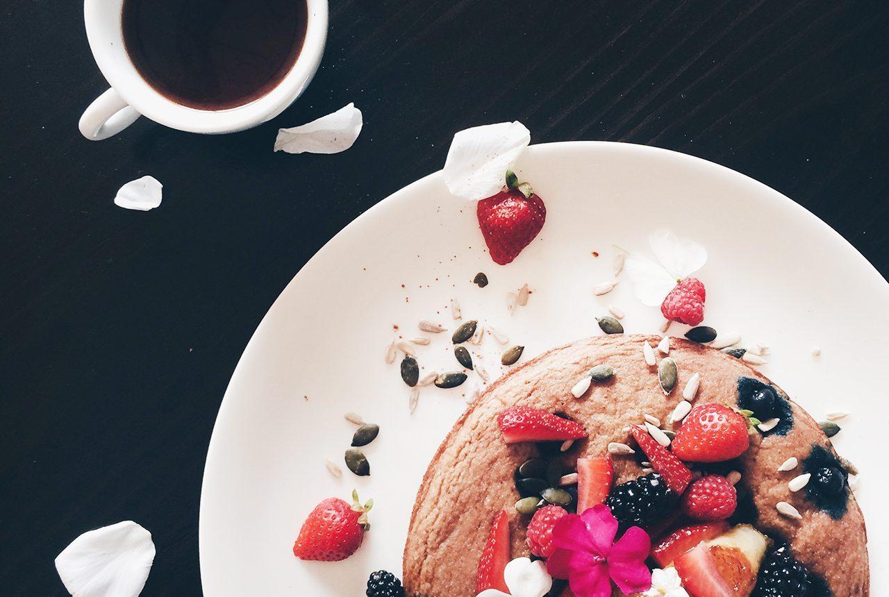 Gluten-free coconut flour deep dish pancake with maple caramalised banana
