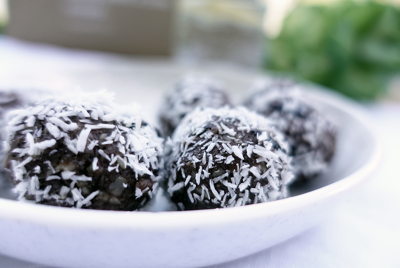 Cherry Ripe Healthy Chocolate Bliss Balls with Cashews