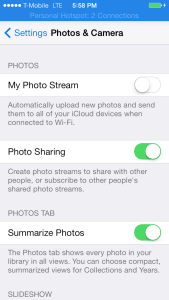 iOS 7 Photo Stream