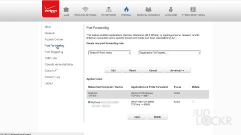 Router Port Forwarding Settings
