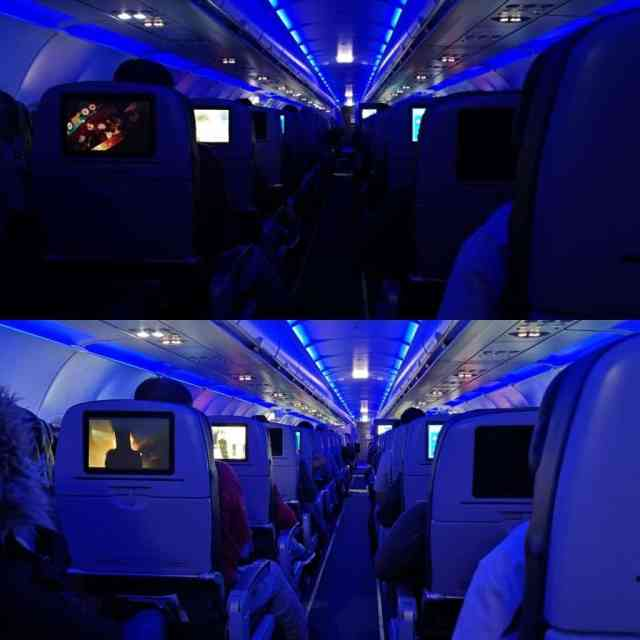 Airplane Night Mode vs Normal