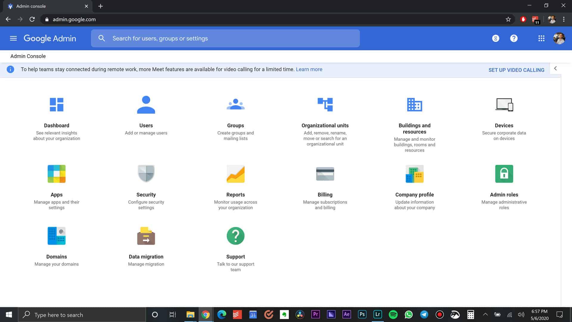 Google Admin Page