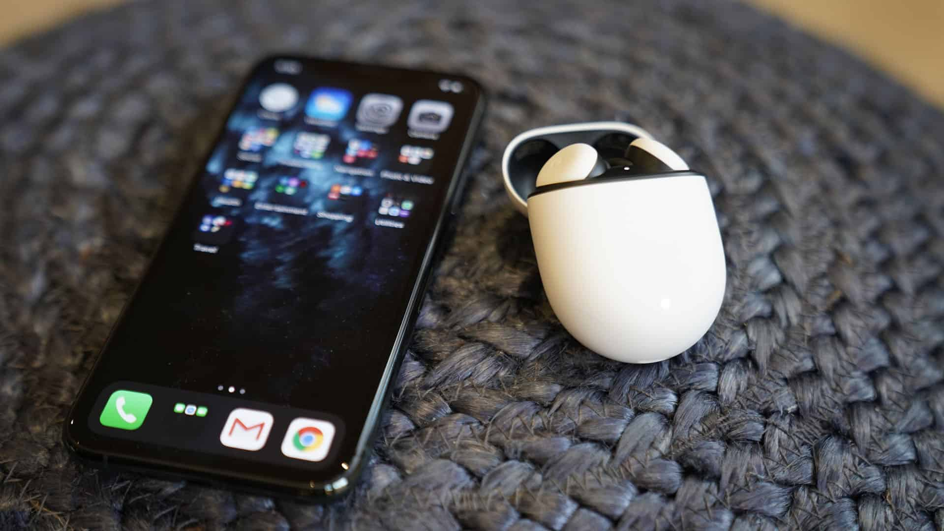 Pixel Buds Next to iPhone
