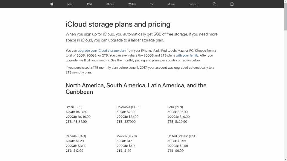 iCloud Pricing