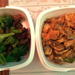 Beef and Broccoli & Peanut Chicken with Mushrooms