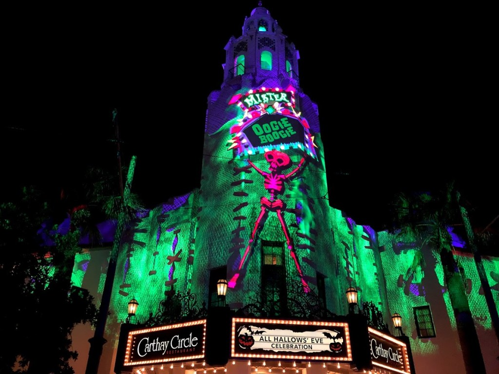 Oogie Boogie Bash Disney California Adventure projections on Carthay Circle