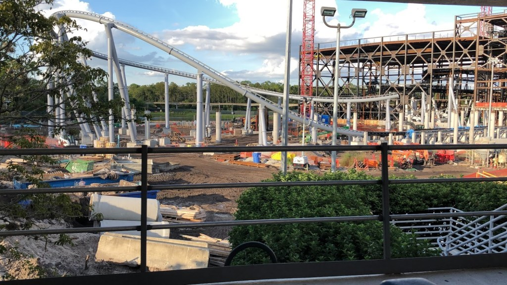 Walt Disney World Magic Kingdom Tomorrowland Transit Authority PeopleMover view of TRON Lightcycle Power Run roller coaster track construction