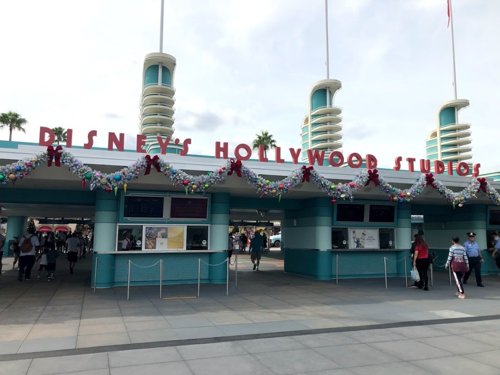 Disney's Hollywood Studios Christmas retro decor entrance