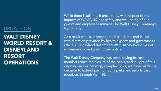 Walt Disney World Disneyland Covid-19 closure extension