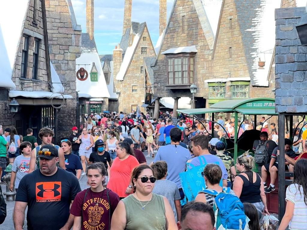 Universal Orlando Wizarding World Hogsmeade with face masks optional