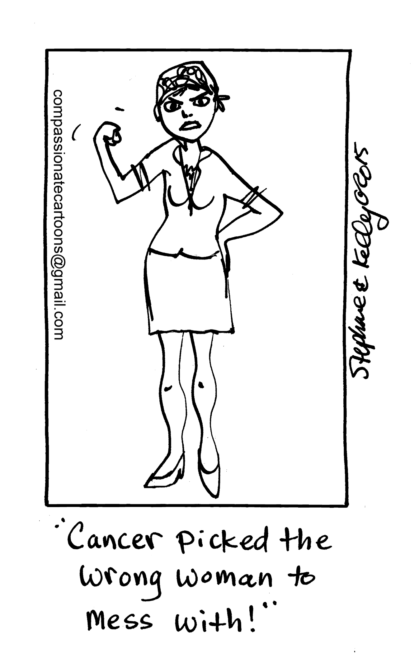 Cartoon depicting a woman fighting cancer