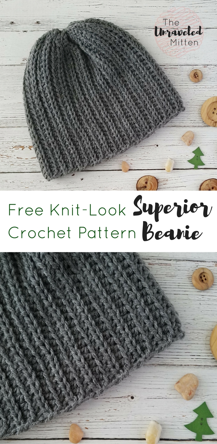 Superior Beanie | Free Crochet Pattern | The Unraveled Mitten | Knit Look Crochet |