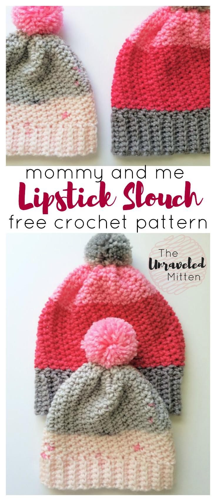 Lipstick Slouchy Hat | Adult & Toddler Size | Free Crochet Pattern using Bernat Pop Yarn | The Unraveled Mitten