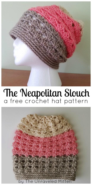 Neapolitan Eyelet Slouchy Hat A Free Crochet Pattern The