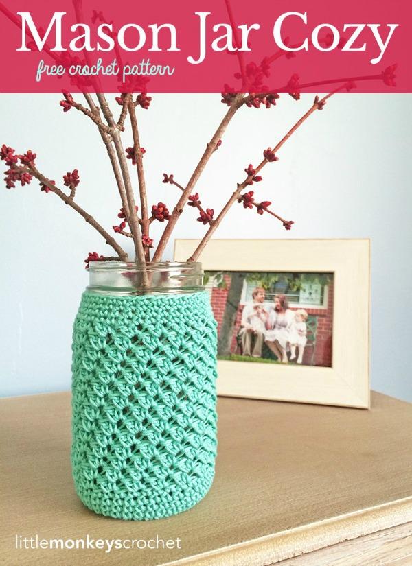 Crochet Mother's Day Gift Ideas: Mason Jar Cozy by Little Monkeys Crochet