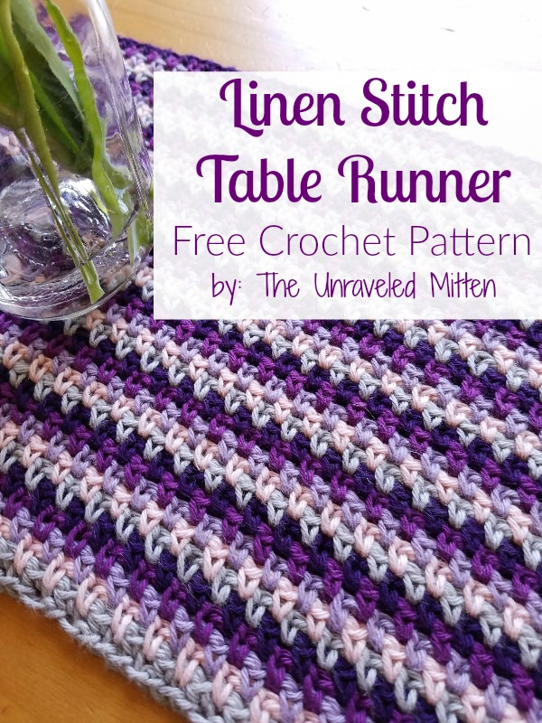 Linen Stitch Table Runner Free Crochet Pattern by The Unraveled Mitten