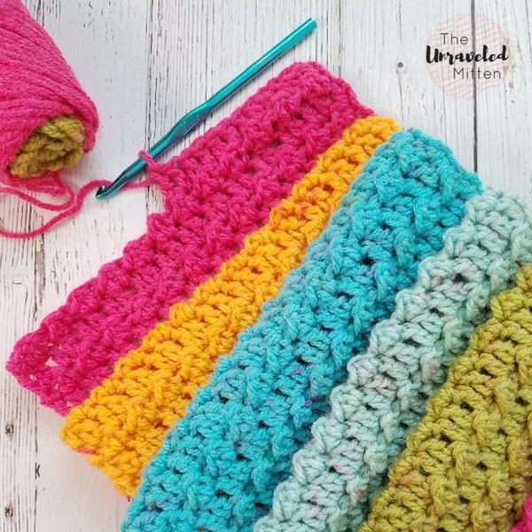 Textured Infinity Scarf Pattern Using One Caron Cake | The Unraveled ...