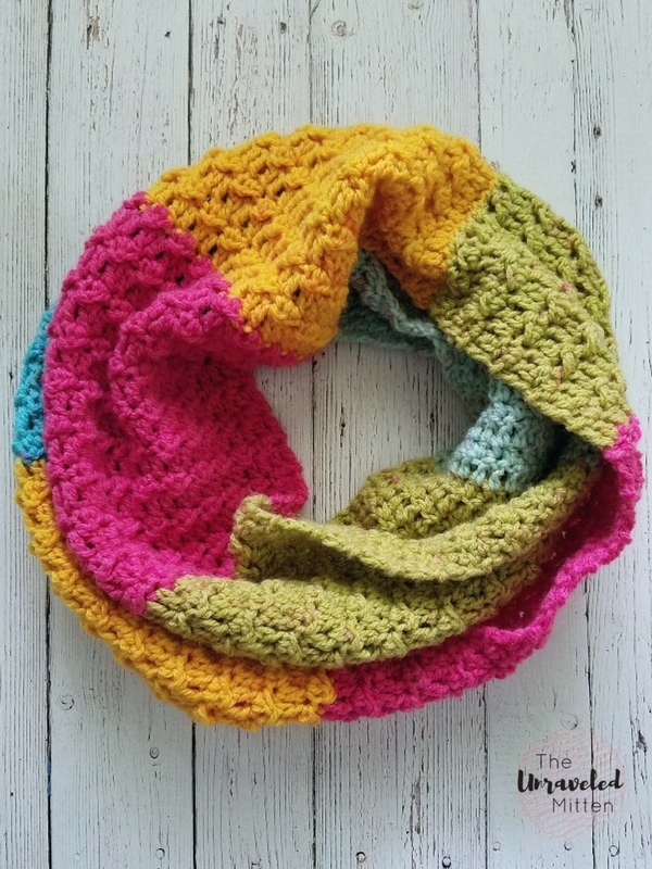 109bc76d599 Textured Infinity Scarf Pattern Using One Caron Cake. by Heather
