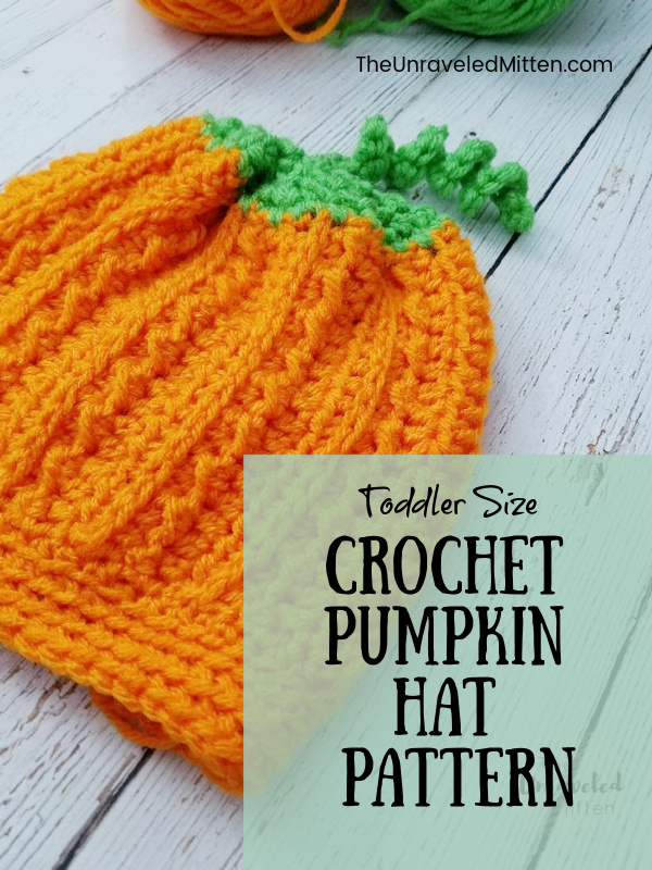 Make a quick diy Halloween costume with this cute textured toddler sized crochet pumpkin hat.
