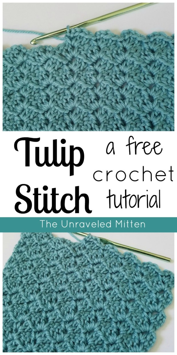 Learn To Crochet the Tulip Stitch | Free Crochet Tutorial | The Unraveled Mitten | Shell Stitch