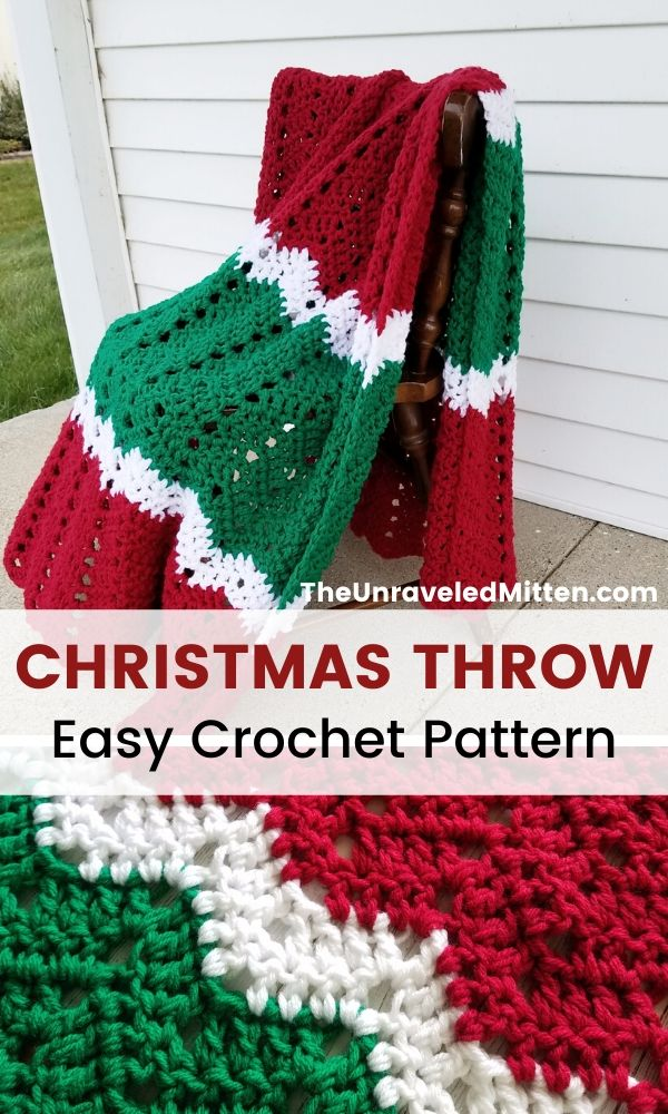 Merry & Bright Throw | Free Easy Crochet Pattern | This chevron crochet blanket is the perfect way to add some holiday cheer to your home this Christmas season! #crochet #crochetpattern #freecrochetpattern #christmascrochet