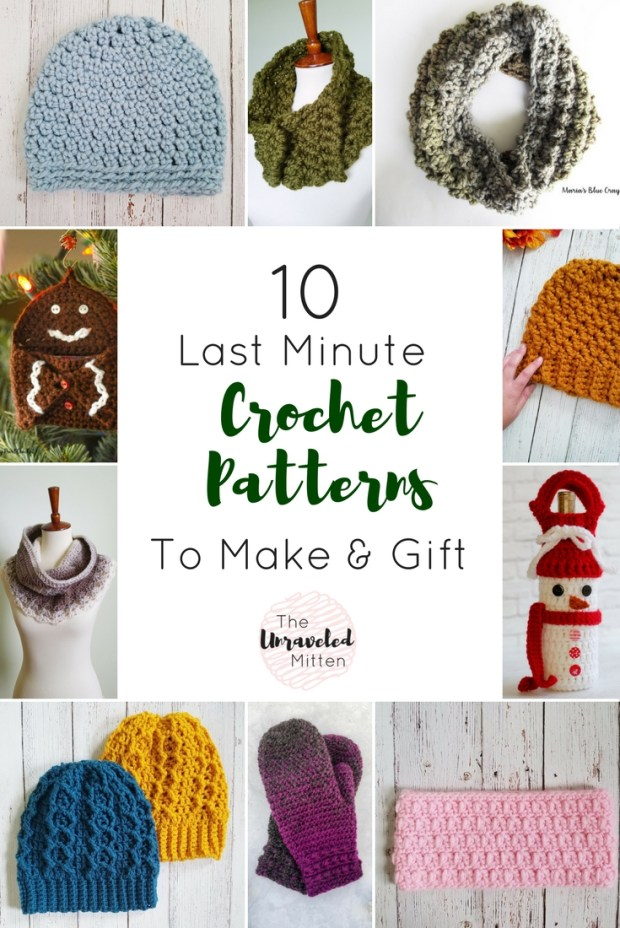 10 last minute crochet patterns to make and give this christmas | Free crochet pattern Round up | The unraveled Mitten