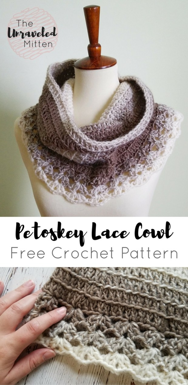 Petoskey Lace Cowl | Free Crochet Pattern | The Unraveled Mitten