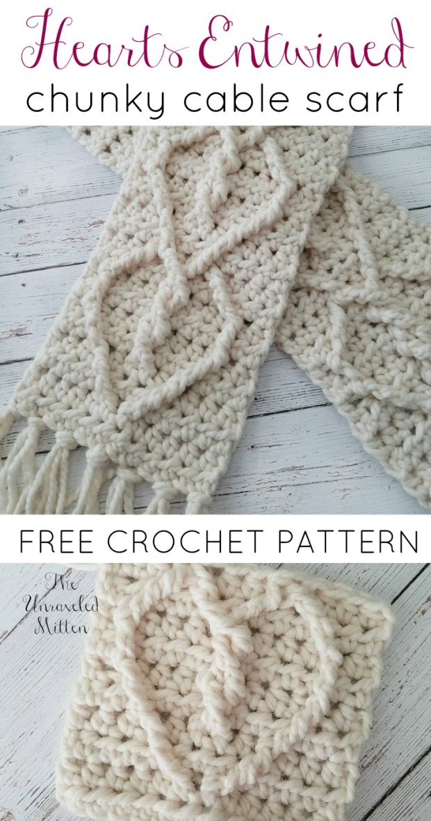 Hearts Entwined Chunky Cable Scarf | Free Crochet Pattern | The Unraveled Mitten
