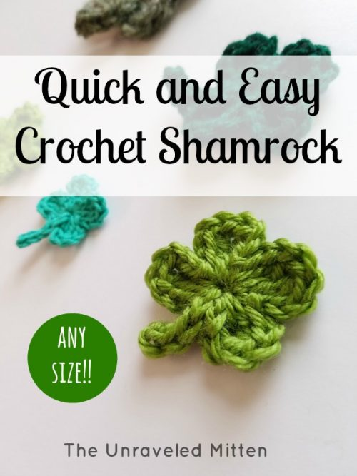 Easy crochet shamrock | Four leaf clover | Part of a St. patrick's Day Crochet Pattern Round up on The Unraveled Mitten