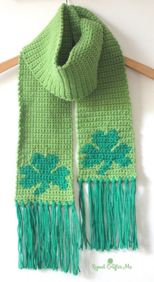 Crochet Shamrock Scarf | Part of a St. Patrick's Day Crochet Pattern Round Up curated by The Unraveled Mitten