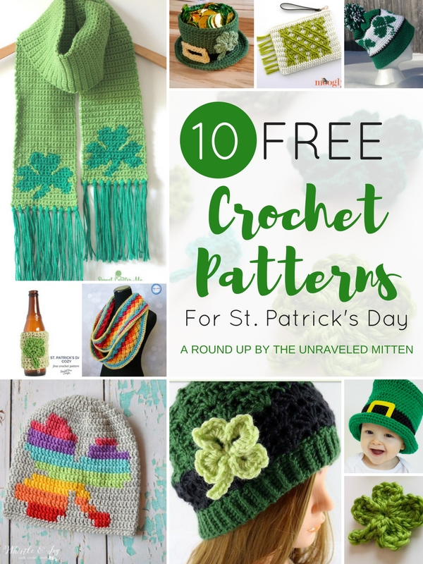 !0 Free Crochet Patterns For St. Patrick's Day | A Round Up by The Unraveled Mitten