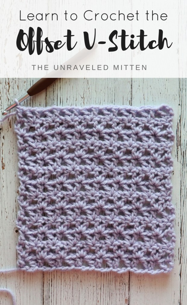 Offset V Sitch | Free Crochet Tutorial | The Unraveled MItten | This easy stitch is great for you next crochet project. Blanket, scarf, wrap, hat, cowl.