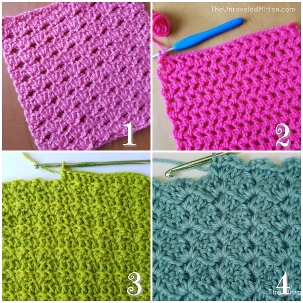 12 Stunning Crochet Stitches for our next blanket, afghan, sweater, hat, scarf! | The Unraveled Mitten | Quick Shell Stich | Offset Filet Net Stich | Modified Silt Stitch | Tulip Stitch