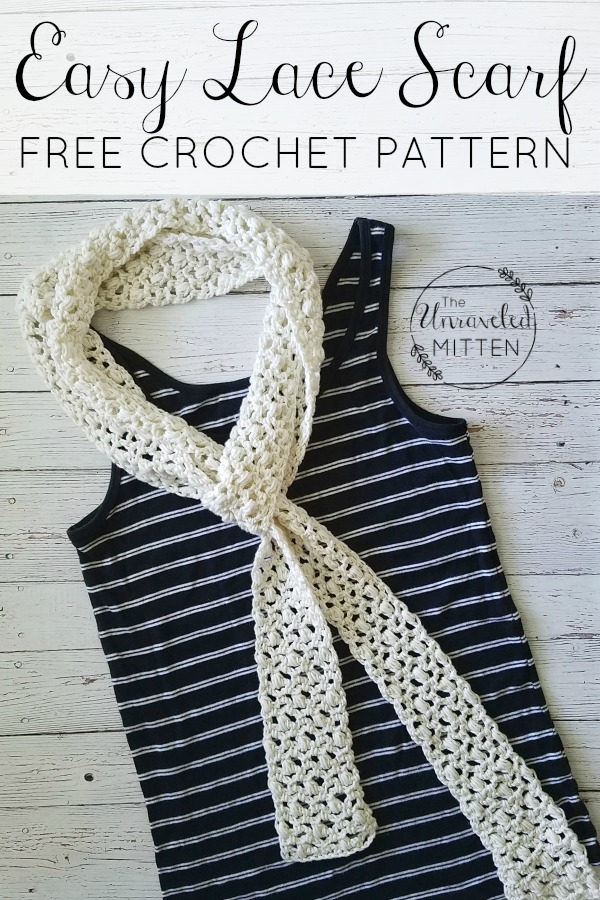 Easy Lace Scarf | Free Crochet Pattern | The Unraveled Mitten | Summer Skinny Scarf