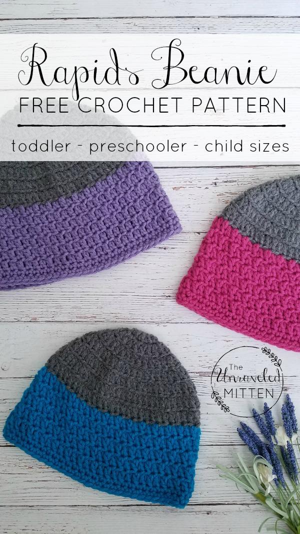 Rapids Beanie | Free Crochet Pattern | Kid's Crochet Hat | The Unraveled Mitten