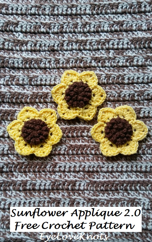 Sunflower Applique by Eye Love Knots | Free Crochet Pattern | part of In Stitches #19 on The Unraveled Mitten