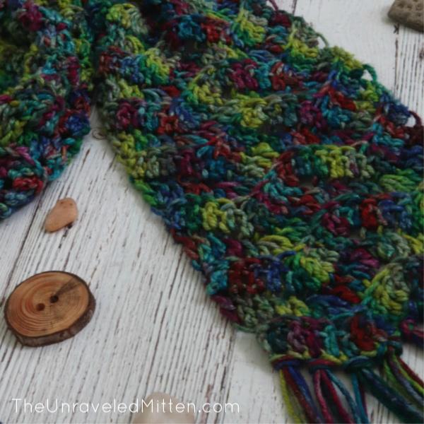 Headlands Crochet Scarf for Darn Good Yarn by The Unraveled Mitten | Chevron Stitch Scarf