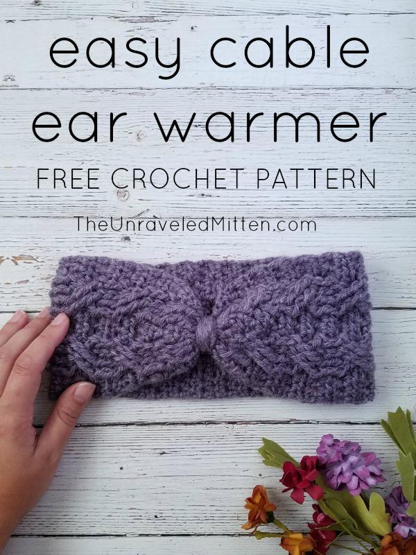 Easy Crochet Cable Ear Warmer | Free Crochet Pattern | The Unraveled Mitten