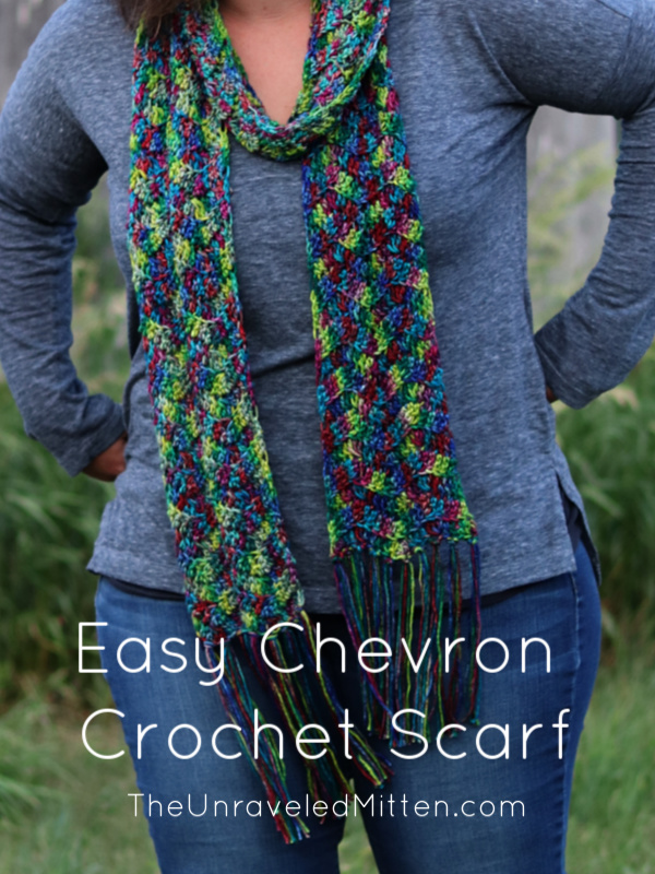 Easy Chevron Crochet Scarf | Headlands Scarf for Darn Good Yarn | The Unraveled Mitten